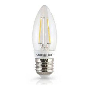 lampada superled vela filam cl e14 6500k biv - ourolux